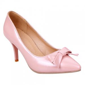 Ladylike Patent Leather and Bow Design Pumps For Women - Pink - 34