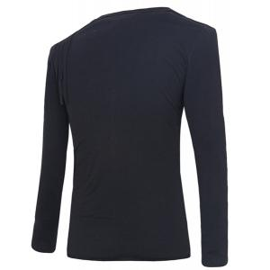 Slim Fit Pullover Solid Color Round Collar Rag Design Long Sleeves T-Shirt For Men -