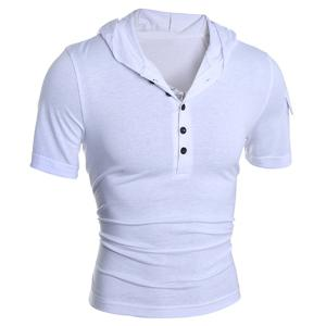 Hooded Button Embellished Short Sleeve T-Shirt For Men - WHITE 2XL