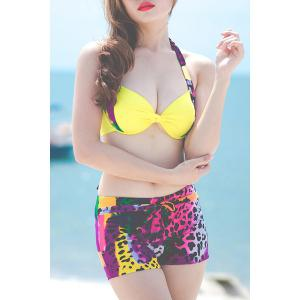 Stylish Halterneck Colorful Leopard Three-Piece Swimsuit For Women - YELLOW L