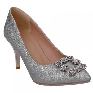 Elegant Sequined Cloth and Rhinestones Design Pumps For Women - Silver - 39