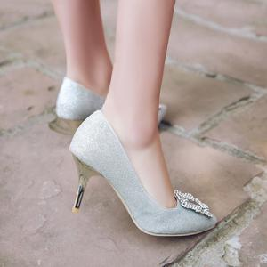 Elegant Sequined Cloth and Rhinestones Design Pumps For Women - SILVER 39