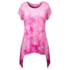 Stylish Round Neck Short Sleeve Printed Asymmetrical T-Shirt For Women - Pink - Xl