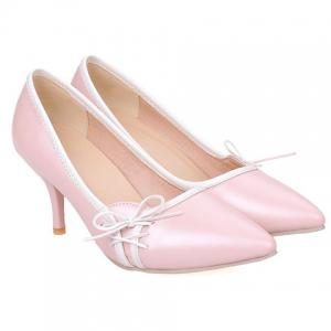 Ladylike Pointed Toe and Cross Straps Design Pumps For Women - PINK 39
