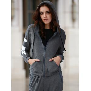 Chic Hooded Long Sleeve Letter Print Hoodie + Pants Women's Twinset -