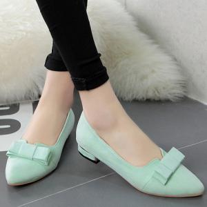 Sweet Bow and Solid Colour Design Flat Shoes For Women -