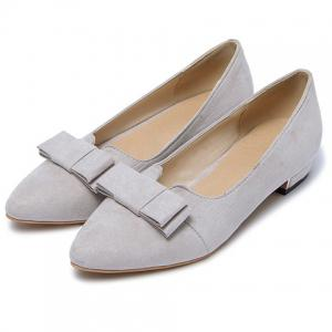 Sweet Bow and Solid Colour Design Flat Shoes For Women - LIGHT GRAY 34