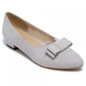 Sweet Bow and Solid Colour Design Flat Shoes For Women - Light Gray - 34