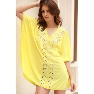 Stylish V-Neck Embroidery Hollow Out Cover Up For Women -