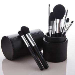 Stylish 8 Pcs Soft Bamboo Fiber Makeup Brushes Set with PU Brush Holder -