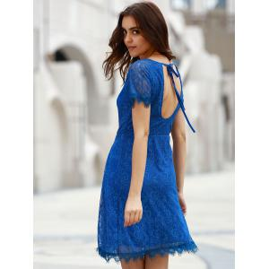 Chic Scoop Neck Short Sleeve Cut Out Women's Lace Dress -