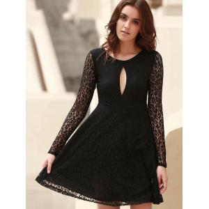 Chic Round Neck Long Sleeve Hollow Out Women's Lace Dress -