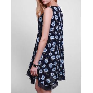 Casual Style Scoop Collar Sleeveless Floral Print Lace Splicing Sun Dress For Women -