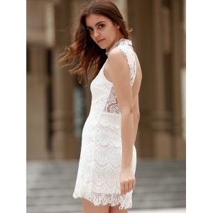 Sexy Stand Collar Sleeveless Pure Color Women's Lace Dress -