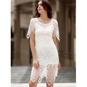Sexy Round Neck Half Sleeve Cut Out Women's Lace Dress -