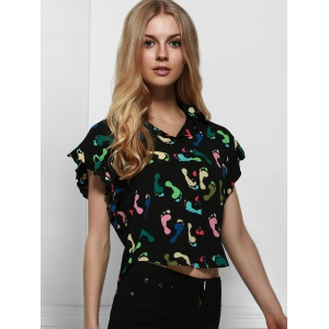 Short Sleeve Printed Chiffon Crop Shirt - BLACK L