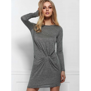 Stylish Round Neck Long Sleeve Solid Color Ruched Dress For Women -