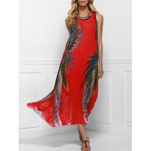 Maxi Boho Printed Swing Dress for Summer - Red - One Size(fit Size Xs To M)