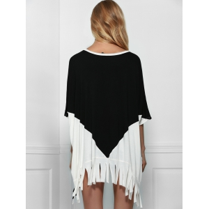 Stylish Scoop Neck Batwing Sleeve Printed Fringed T-Shirt For Women -