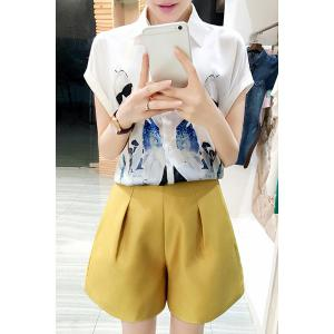 Chic Shirt Collar Short Sleeve Figure Print Shirt + Solid Color Shorts Women's Twinset