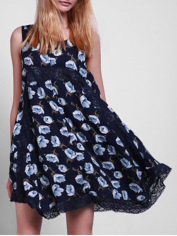 Outfit Casual Style Scoop Collar Sleeveless Floral Print Lace Splicing Sun Dress For Women