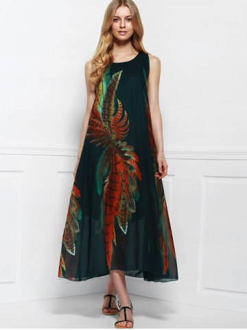 Latest Women's Bohemian Style Print Sleeveless Scoop Neck Dress - ONE SIZE(FIT SIZE XS TO M) COLORMIX Mobile