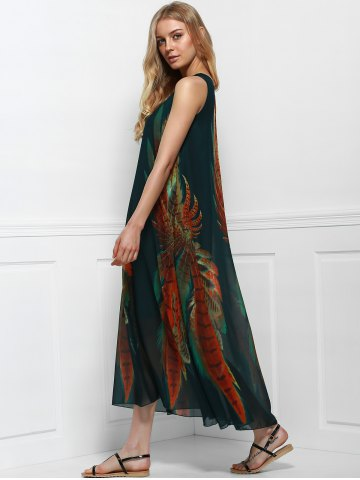 Chic Women's Bohemian Style Print Sleeveless Scoop Neck Dress - ONE SIZE(FIT SIZE XS TO M) COLORMIX Mobile