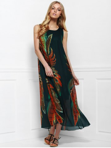 Cheap Women's Bohemian Style Print Sleeveless Scoop Neck Dress - ONE SIZE(FIT SIZE XS TO M) COLORMIX Mobile