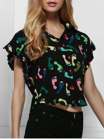 Outfit Short Sleeve Printed Chiffon Crop Shirt BLACK L