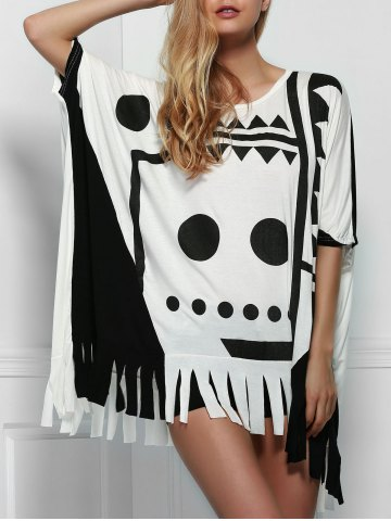 Shop Stylish Scoop Neck Batwing Sleeve Printed Fringed T-Shirt For Women