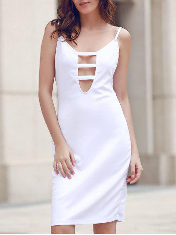 Store Stylish Spaghetti Strap Hollow Out White Dress For Women