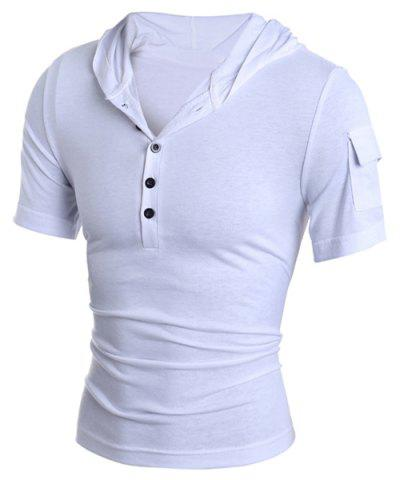 Latest Hooded Button Embellished Short Sleeve T-Shirt For Men WHITE 2XL