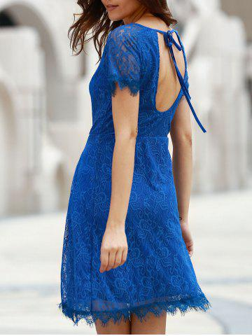 Fashion Chic Scoop Neck Short Sleeve Cut Out Women's Lace Dress