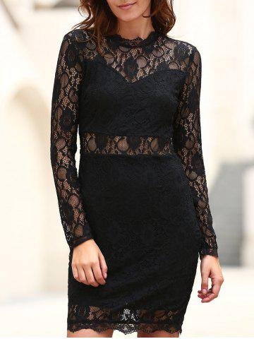 Unique Sexy Stand Collar Long Sleeve Solid Color Women's Lace Dress
