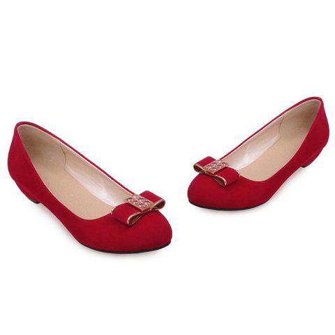 Shops Elegant Bow and Suede Design Flat Shoes For Women - 39 RED Mobile