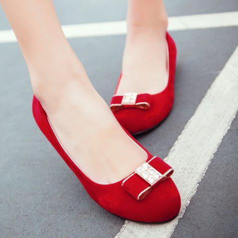 Fashion Elegant Bow and Suede Design Flat Shoes For Women - 39 RED Mobile
