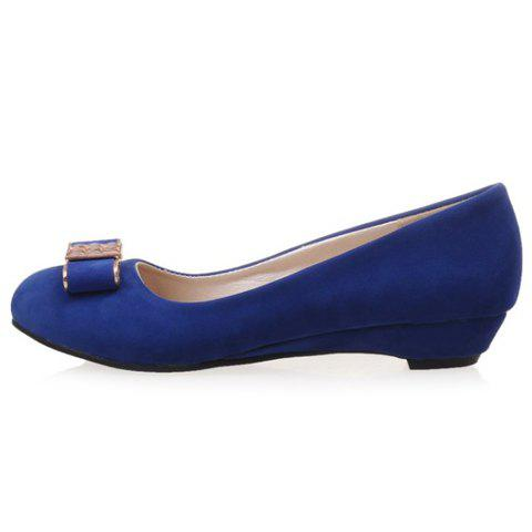 Best Elegant Bow and Suede Design Flat Shoes For Women - 39 BLUE Mobile
