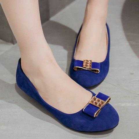 Buy Elegant Bow and Suede Design Flat Shoes For Women - 39 BLUE Mobile