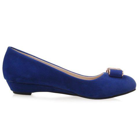 Latest Elegant Bow and Suede Design Flat Shoes For Women - 39 BLUE Mobile