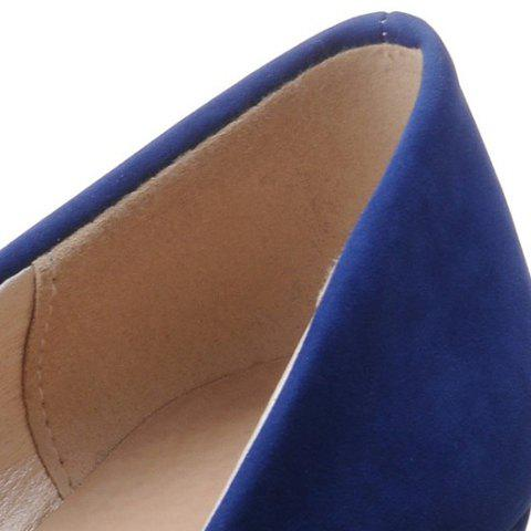 Store Elegant Bow and Suede Design Flat Shoes For Women - 39 BLUE Mobile