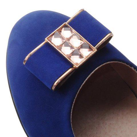 New Elegant Bow and Suede Design Flat Shoes For Women - 39 BLUE Mobile