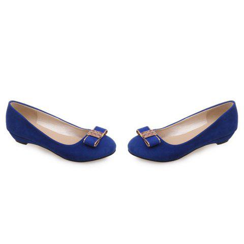 Hot Elegant Bow and Suede Design Flat Shoes For Women - 39 BLUE Mobile