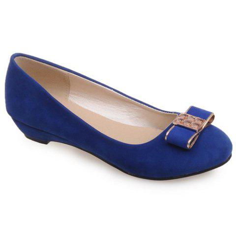 Trendy Elegant Bow and Suede Design Flat Shoes For Women - 39 BLUE Mobile