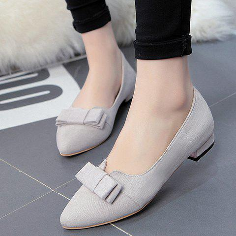 Hot Sweet Bow and Solid Colour Design Flat Shoes For Women - 34 LIGHT GRAY Mobile