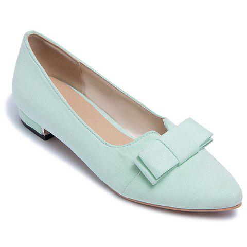 Sale Sweet Bow and Solid Colour Design Flat Shoes For Women - 38 APPLE GREEN Mobile