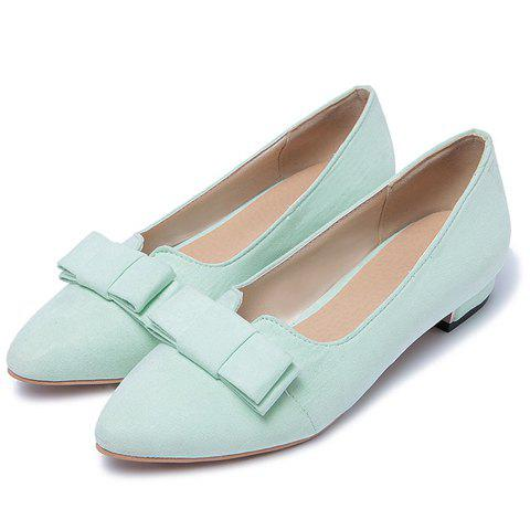 Discount Sweet Bow and Solid Colour Design Flat Shoes For Women - 38 APPLE GREEN Mobile