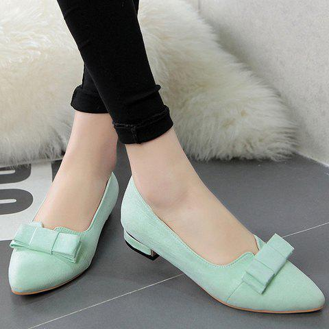 Online Sweet Bow and Solid Colour Design Flat Shoes For Women - 38 APPLE GREEN Mobile