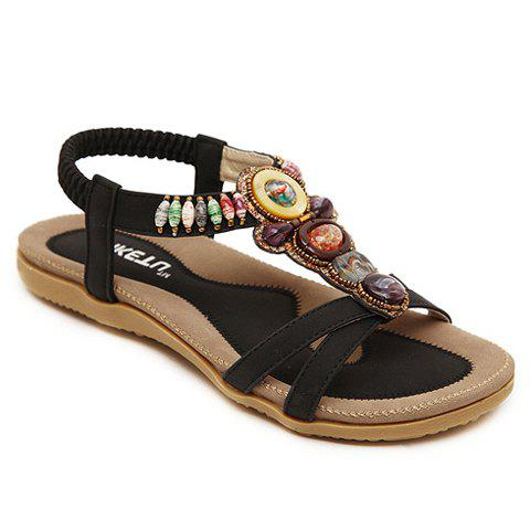 Latest Leisure Color Block and Beading Design Sandals For Women