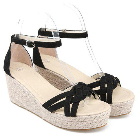 Hot Suede Ankle Strap Wedge Sandals - 38 BLACK Mobile