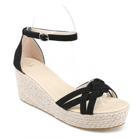 Hot Suede Ankle Strap Wedge Sandals - 39 BLACK Mobile